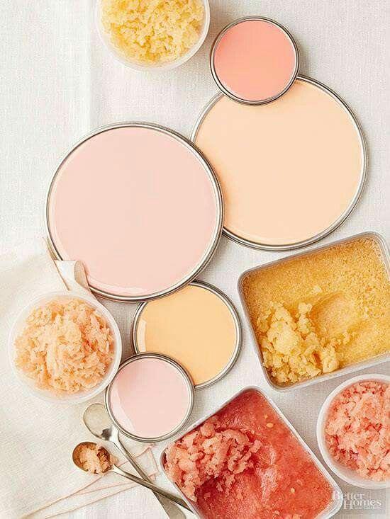 Peach color pallette for kitchen