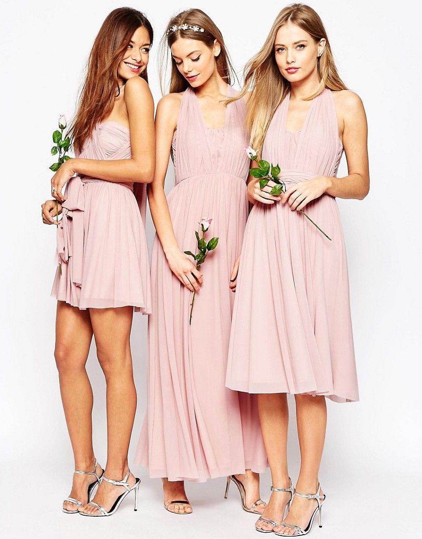 DESIGN Bridesmaid multiway mesh mini dress - Heather pink Asos ULd0M