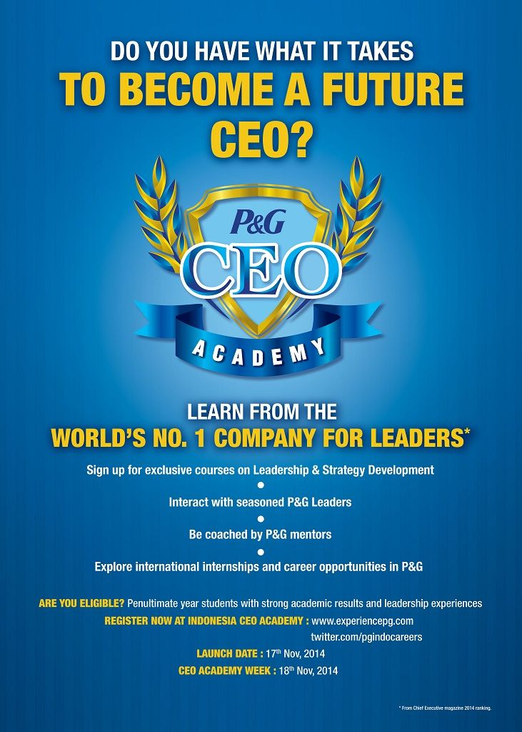 Want to learn from the world's no 1 company leaders?   JOIN P&G CEO Academy - the next innovation of ASEAN Business Challanges!   For info >> http://bit.ly/1pPDn1B #news #itbcc