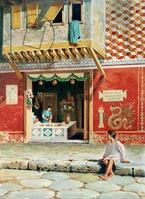 Food shop, Pompeii (colour litho)