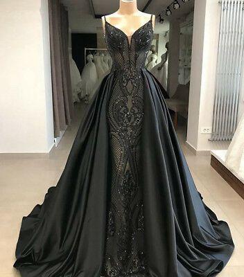 Details über wunderschöne Meerjungfrau Gothic schwarz Abendkleider arabische Abendkleid Party Prom neu   – Dresses
