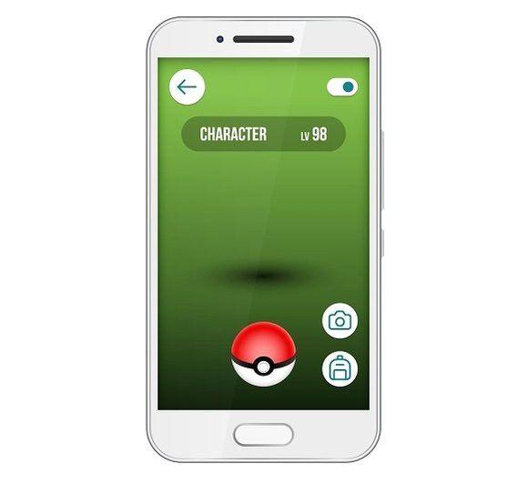 Game app screen pokemon smartphone. Technology icons. $5.00