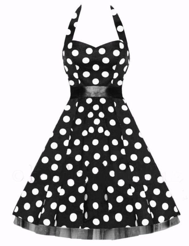 dd25296d2853 H & R BLACK HALTER Dress RETRO BIG WHITE POLKA DOTS Vintage VTG PARTY pinup  0211 #HRLondonHeartsandRosesDress  #weddingbridesmaid40s50spunkswingpolkaprom # ...