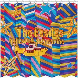 The Beatles Shower Curtain Yellow Submarine Beatles Bathroom