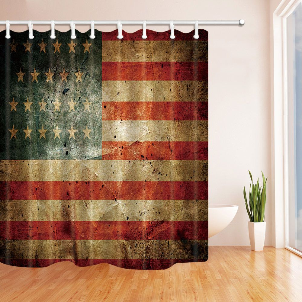 Retro American Flag Polyester Bathroom Shower Curtain Liner
