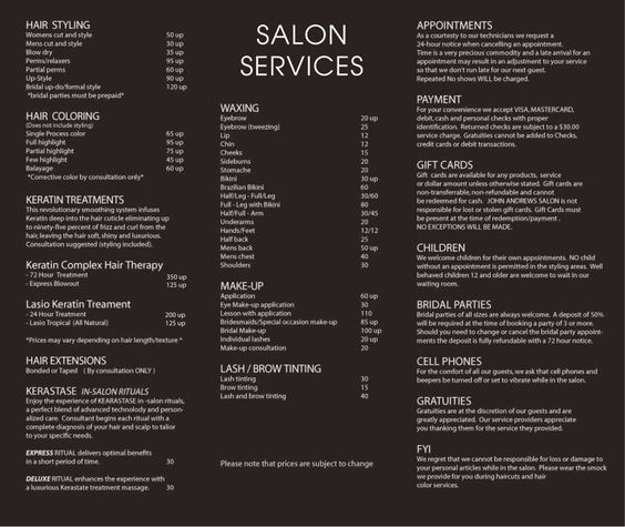 John Andrews Salon Services Salon Menu Hair Salon