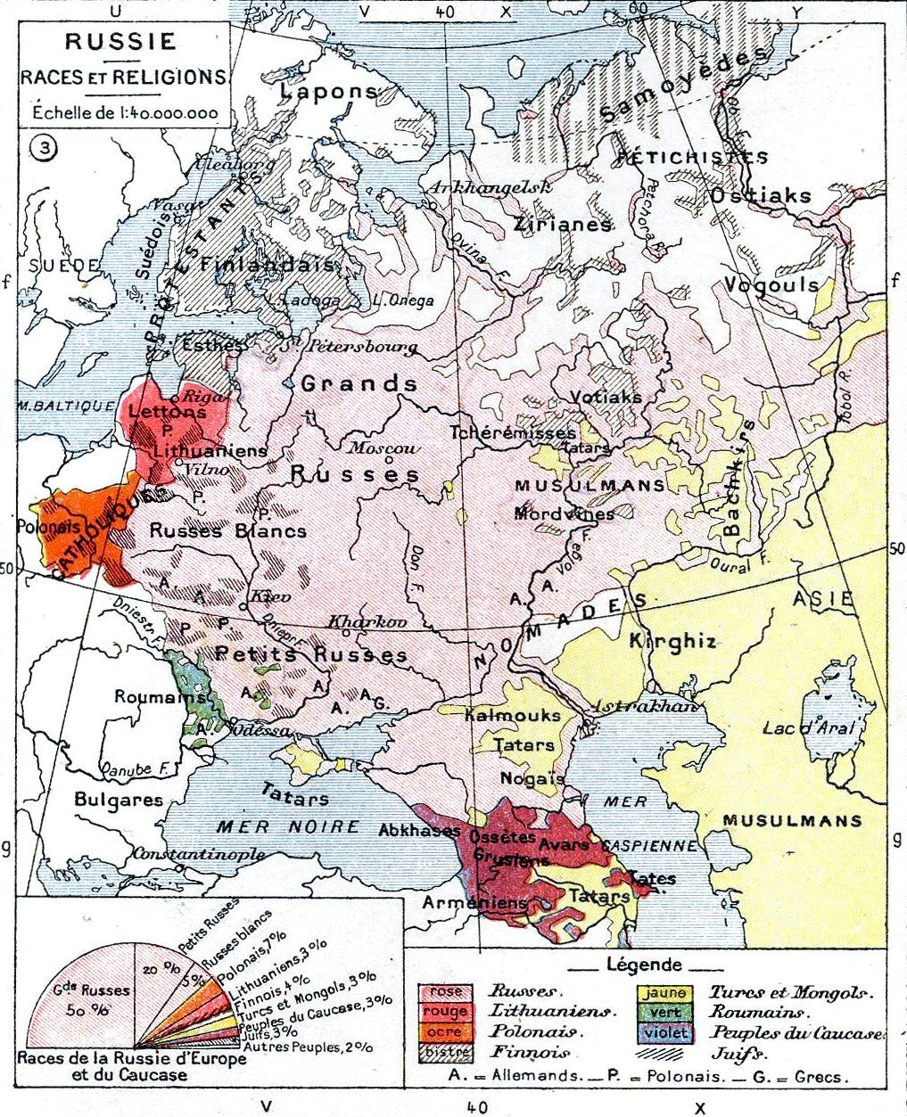Ethnic map of European Russia before the First World War. | The ...