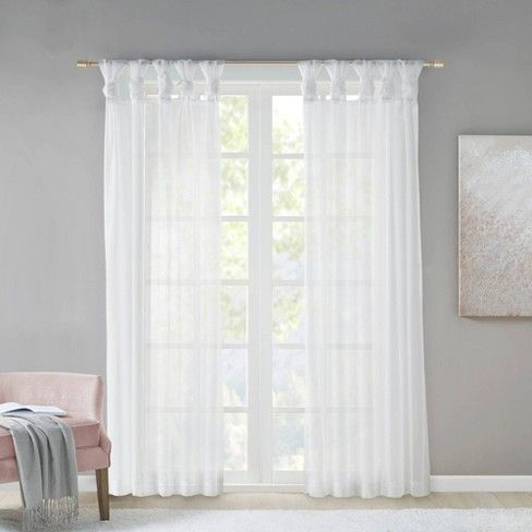 Persis Twisted Tab Voile Sheer Window Pair White 50 X84 Adult