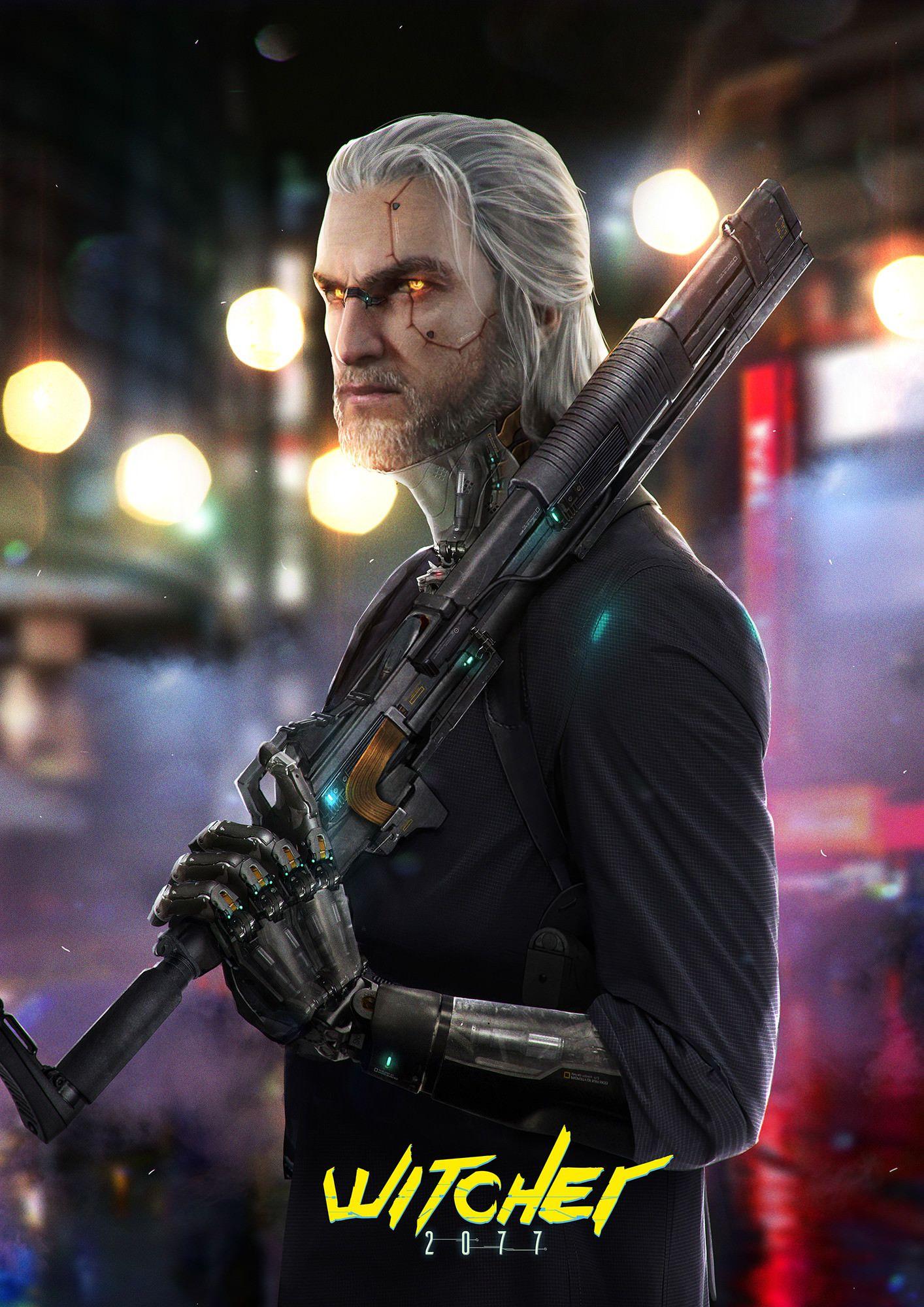 Geralt concept art for cyberpunk 2077 Киберпанк, Научная