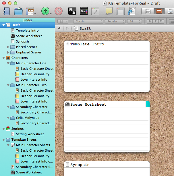 Scrivener Template #3 This one has scene, character, & setting ...