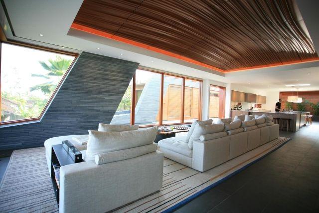 Loft-Raum gestaltung-sitzlandschaft Polstermöbel-abgehängte decke - abgehängte decke wohnzimmer