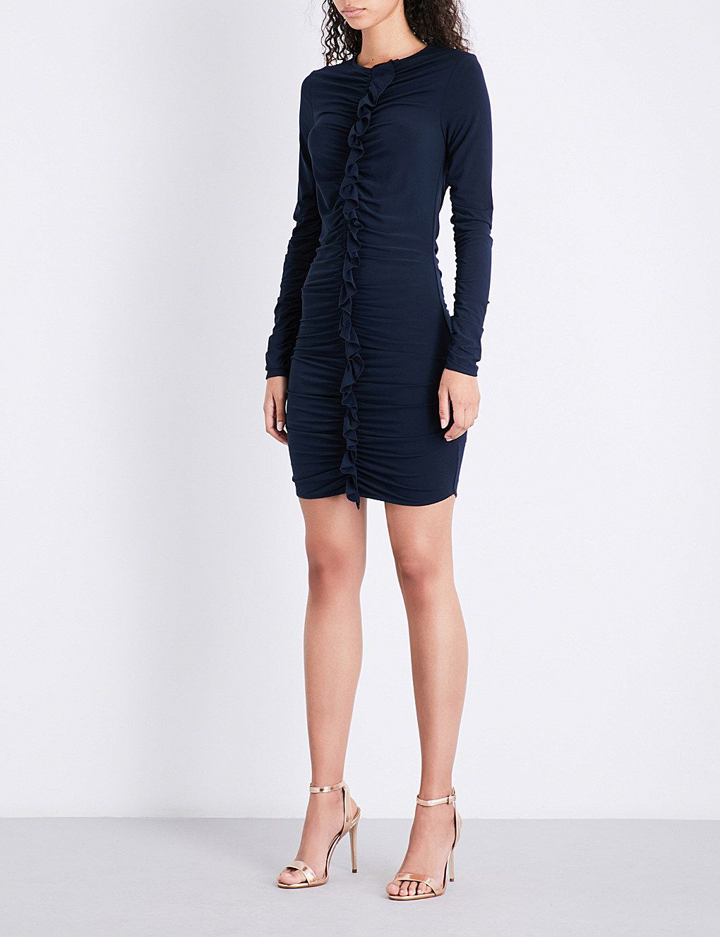 04f3269d33 REISS Harriet ruffled-front stretch-crepe dress