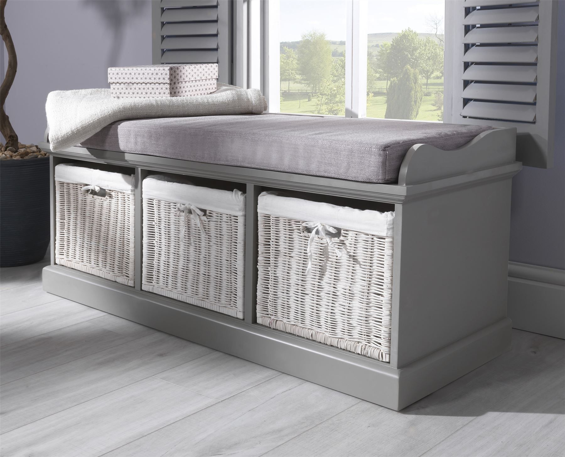 Brilliant Details About Tetbury Bench With 3 Storage Baskets Sturdy Camellatalisay Diy Chair Ideas Camellatalisaycom