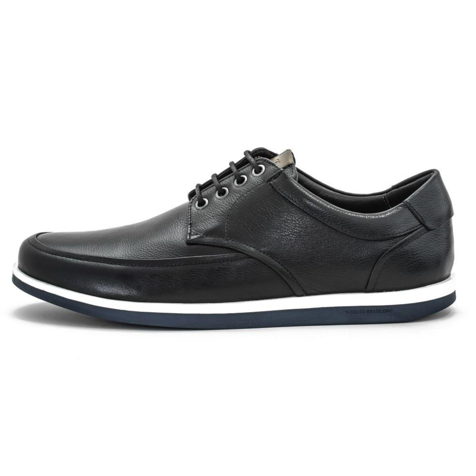 Sapato Casual Em Couro Masson Genebra Preto   Sapato casual