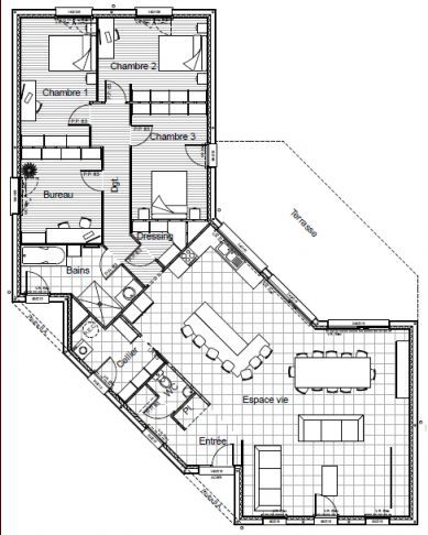 Maison BBC en V plain-pied 156m2 Projets à essayer Pinterest - plan de maison de 100m2 plein pied