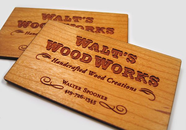 25 unconventional wooden business cards business cards business creative business card for walts wood works reheart Image collections