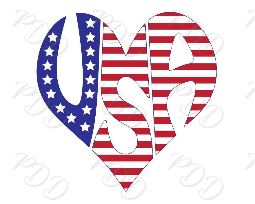 Usa Word Art In Heart Shape Usa Svg Dxf Eps Png Jpg United Etsy Word Art Svg Printable Art