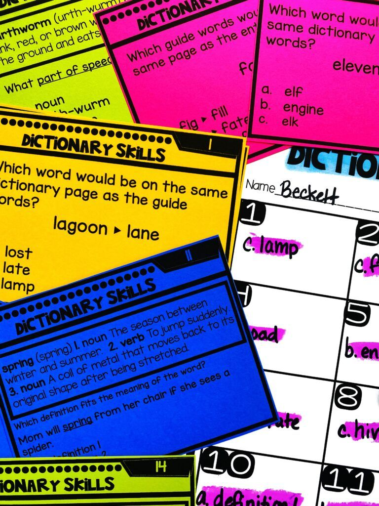 Dictionary Skills Task Cards Hang task cards around the