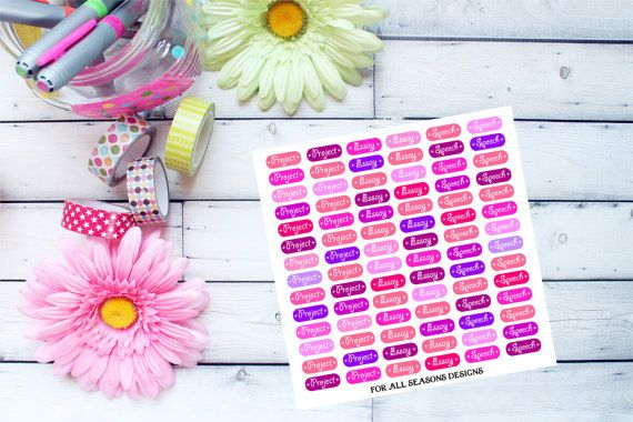 School Project Planner Stickers Project by ForAllSeasonsDesigns