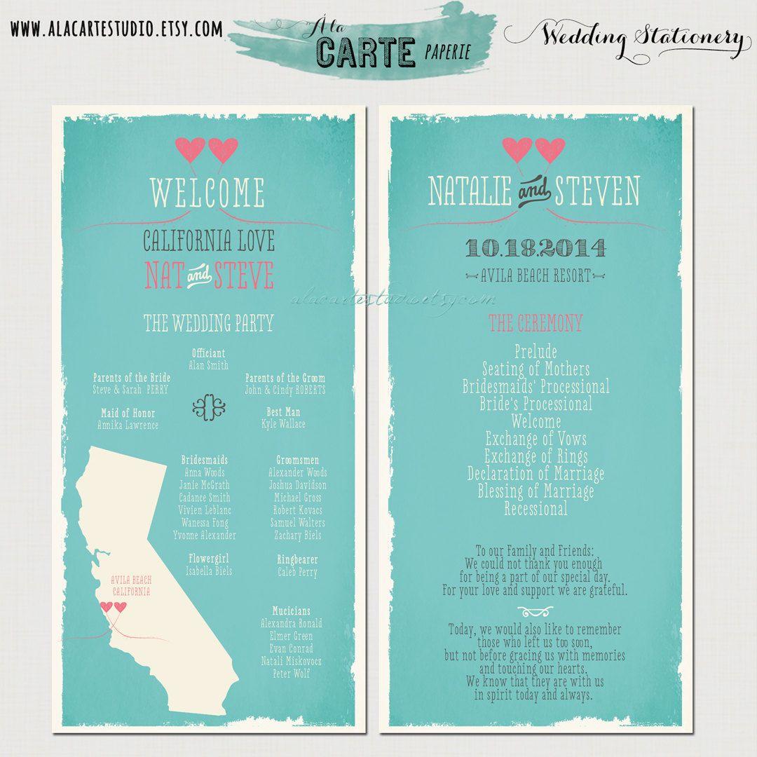 State Love Wedding Ceremony Program Card 20 00 Via
