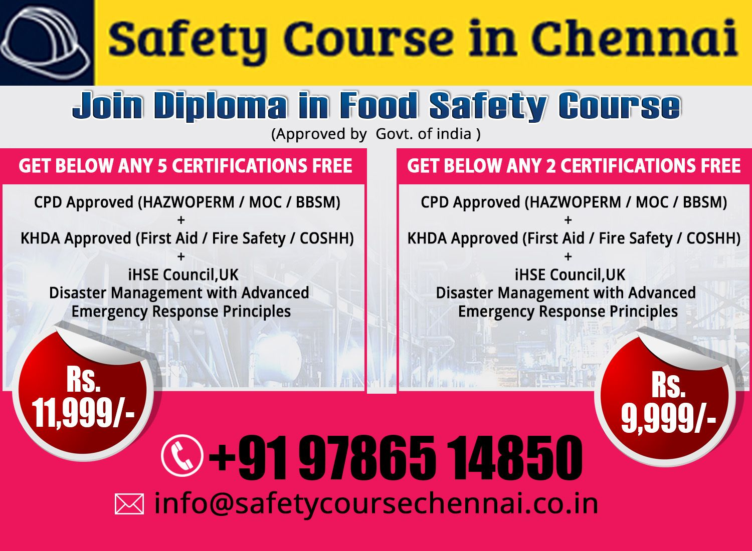 Health and Safety Course in Chennai Safety courses, Food