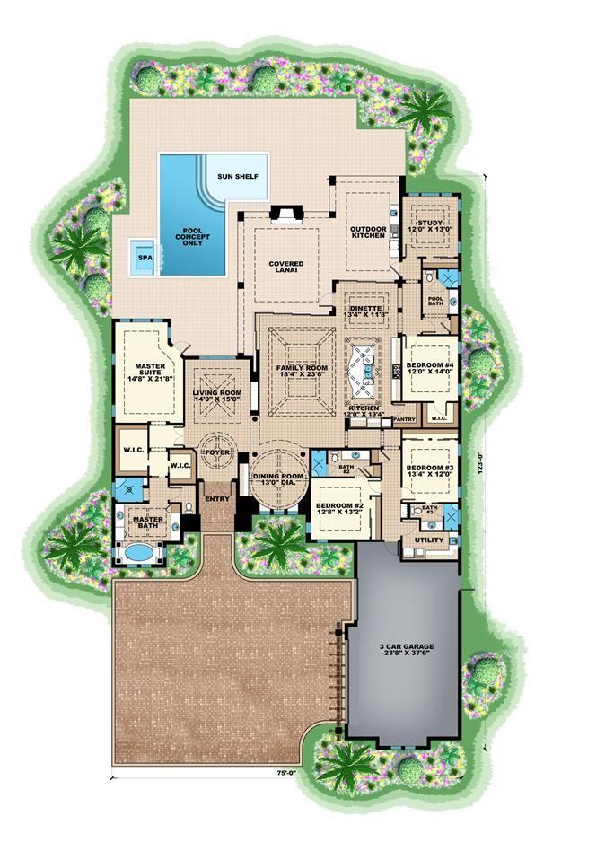 Contemporary House Plan 175 1129 4 Bedrm 4 Bath 3869 Sq Ft Home Mediterranean Style House Plans Contemporary House Plans House Plans With Photos
