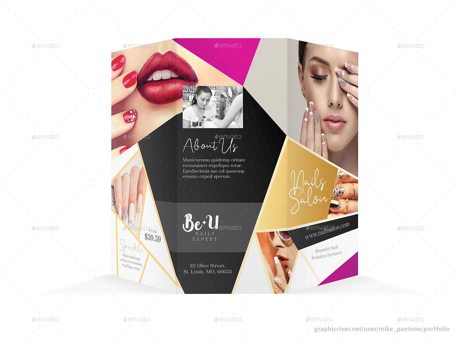 Nails Salon Trifold Brochure 2 Trifold brochure, Nail