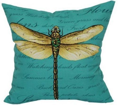 New Teal Blue Outdoor Indoor Dragonfly Pillow 16 Uv Treat
