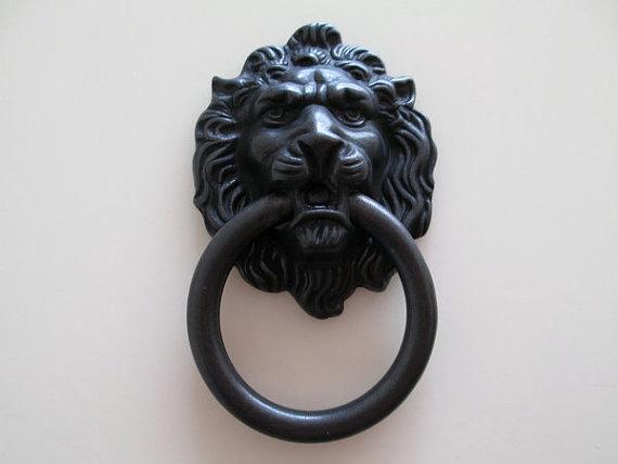 Black Lion Head Dresser Pull Knob / Drawer Pulls Knobs Handles Rings /  Antique Bronze Gold