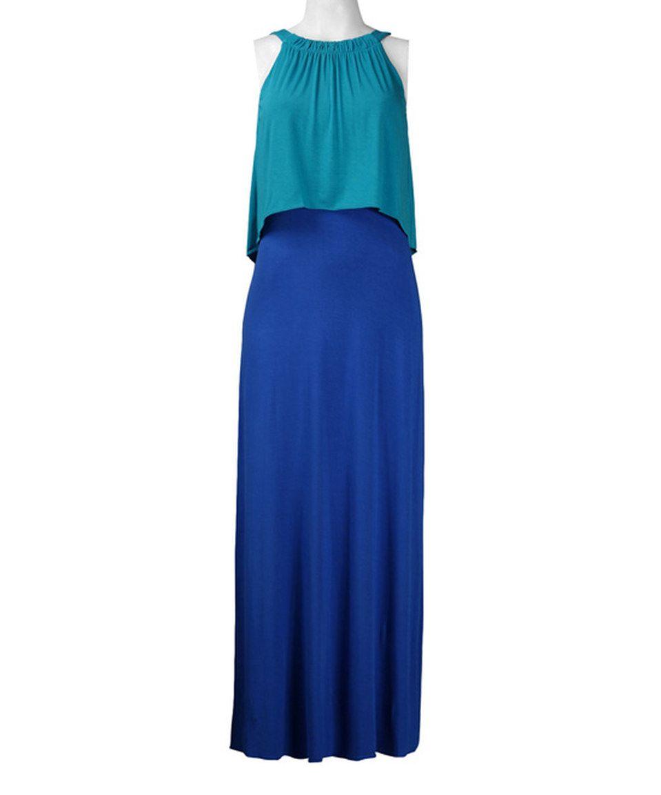 Loving this turquoise u cobalt color block layered maxi dress on