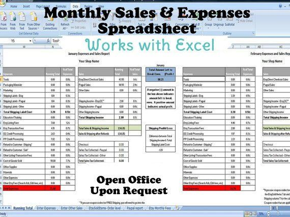 Monthly Sales And Expenses Spreadsheet Summarizes Etsy Paypal