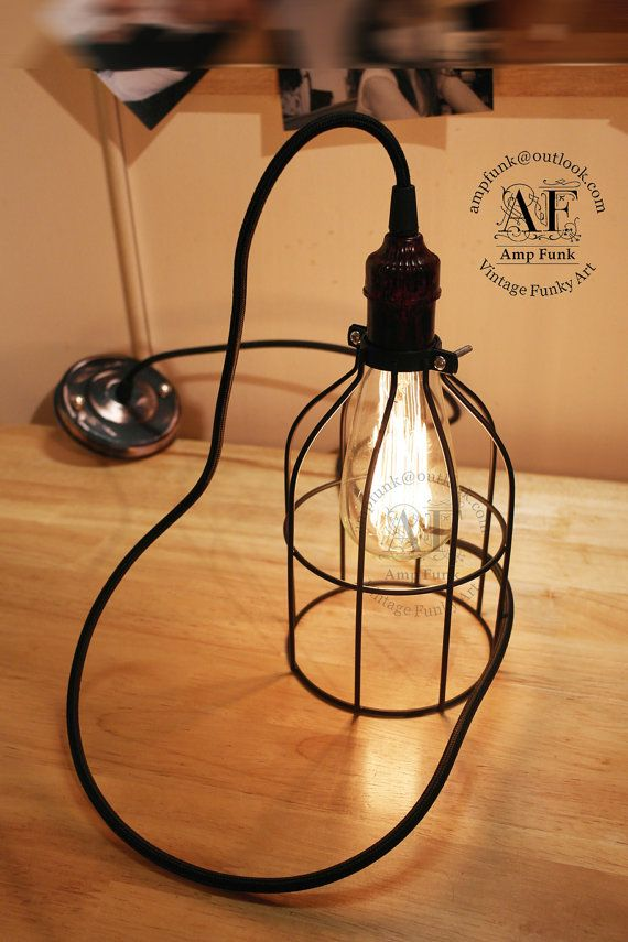Industrial cage pendant light antique edison style black fabric industrial cage pendant light antique edison style black fabric colour cord cage lamp greentooth Images