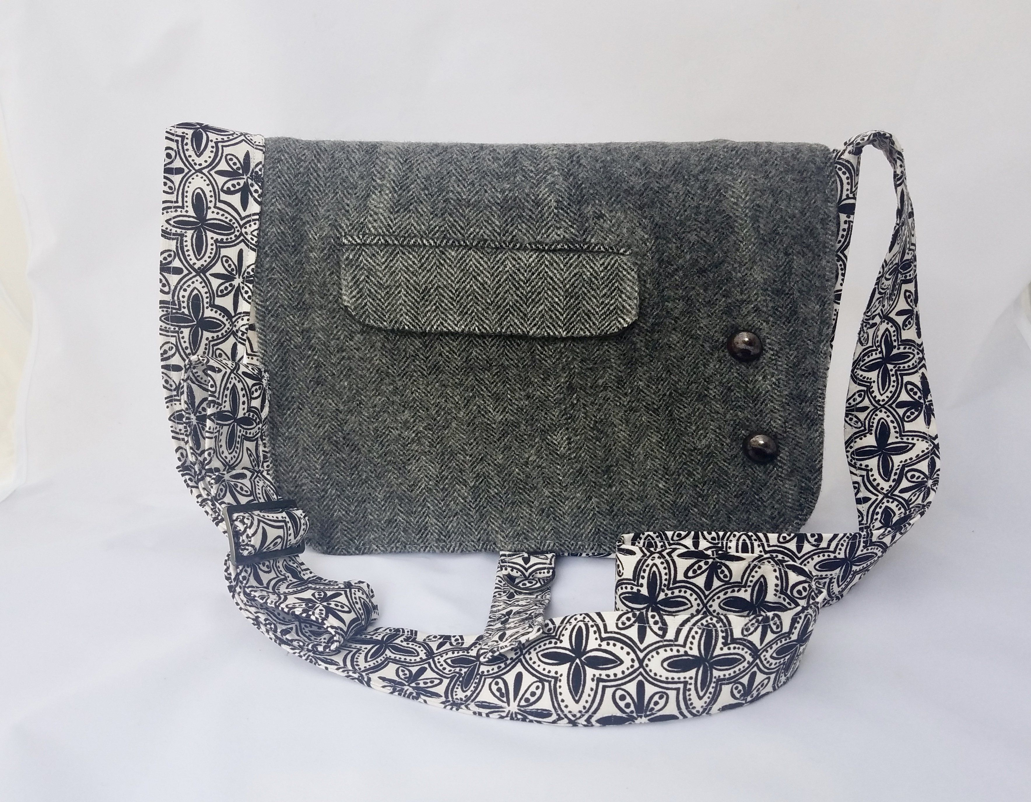 A Study in Black & White + Men's Suit Upcycled Messenger Bag
