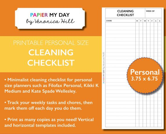 personal filofax cleaning list