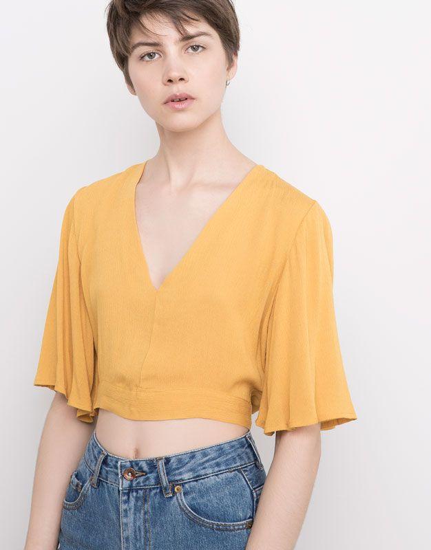 Pull&Bear - mujer - blusas y camisas - cuerpo escote pico lazada - mostaza - 05470322-V2016