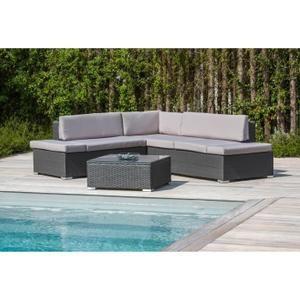 Salon de jardin 1 table basse + canapé d\'angle en aluminium ...