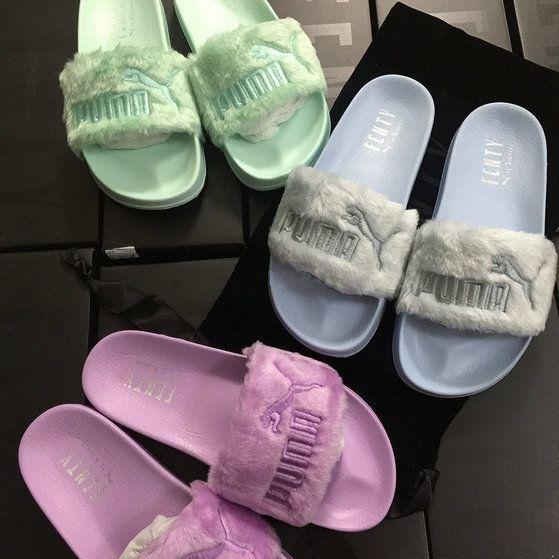 60b197b95463 2018-2019 Summer Authentic Official wms Rihanna x Puma Fur Leadcat Fenty  Satin slide sandals 365772 gray