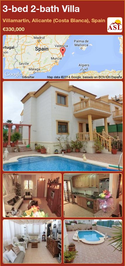 3-bed 2-bath Villa in Villamartin, Alicante (Costa Blanca), Spain ►€330,000 #PropertyForSaleInSpain