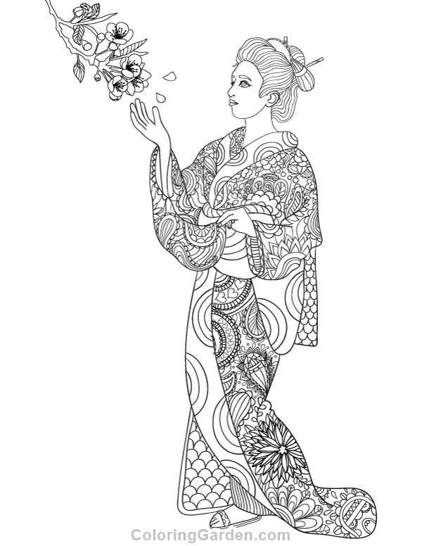 Free Printable Geisha Adult Coloring Page Download It In PDF Format At