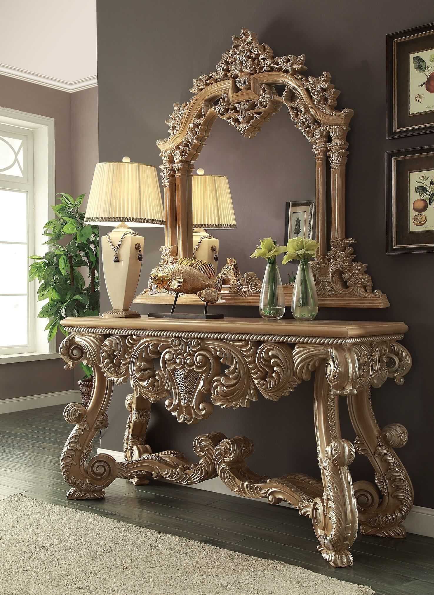 Homey design hd 7012 royal kingdom console table mirrorg 1476 homey design hd 7012 royal kingdom console table geotapseo Images