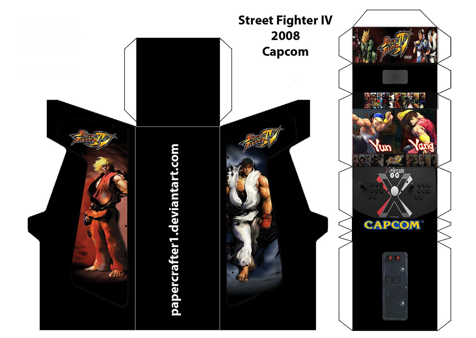 Here Is The Template For Street Fighter IV Paper Arcade Cabinet I Made From SF2