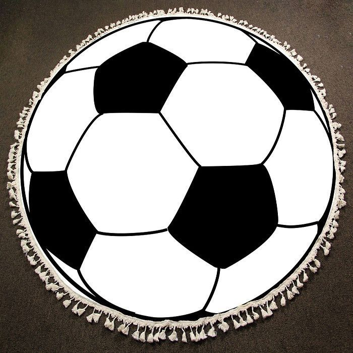 Soccer Ball Print Multi Use Round Beach Towel Support Small