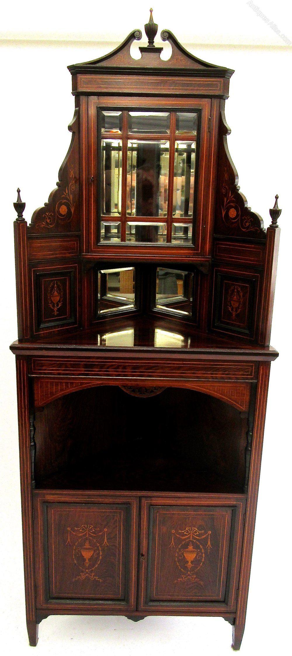 Victorian Rosewood Inlaid Corner Cupboard - Antiques Atlas ... on Corner Sconce Shelf Cabinet id=54801
