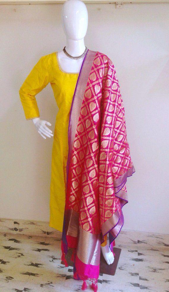 43582f3b93 Raw silk kurta churidar set with banarasi brocade dupatta in 2019 ...