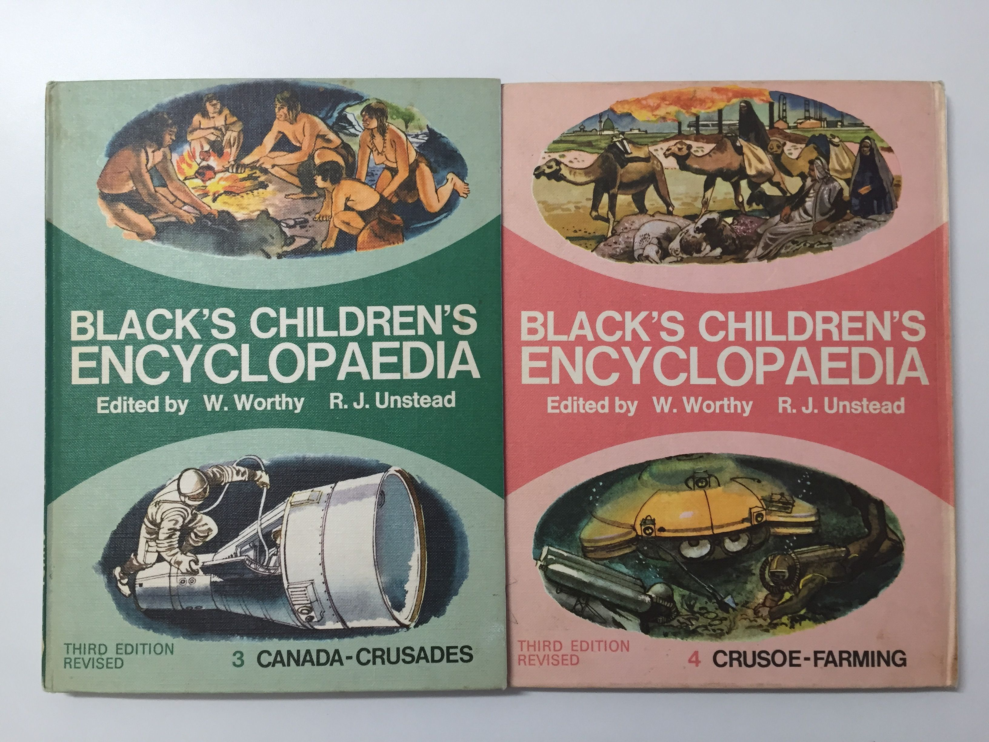 Two volumes of the wonderfully illustrated Black's Children's Encyclopaedia from 1973.