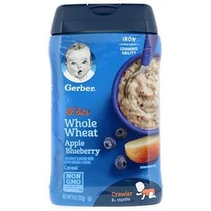Gerber Lil Bits Whole Wheat Cereal 8 Months Apple Blueberry 8 Oz 227 G Iherb 시리얼 블루베리 건강한