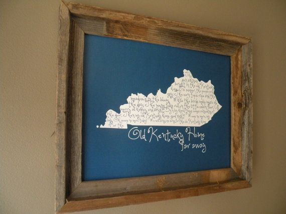 My Old Kentucky Home 11x14 UK Blue Map Print by fortheloveofmaps, $22.00