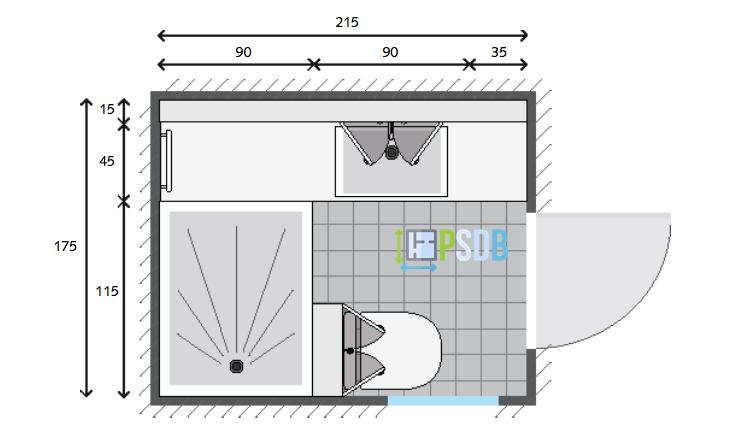 Exemple de plan de salle de bain de 3,8m2 | Plans pour petites ...