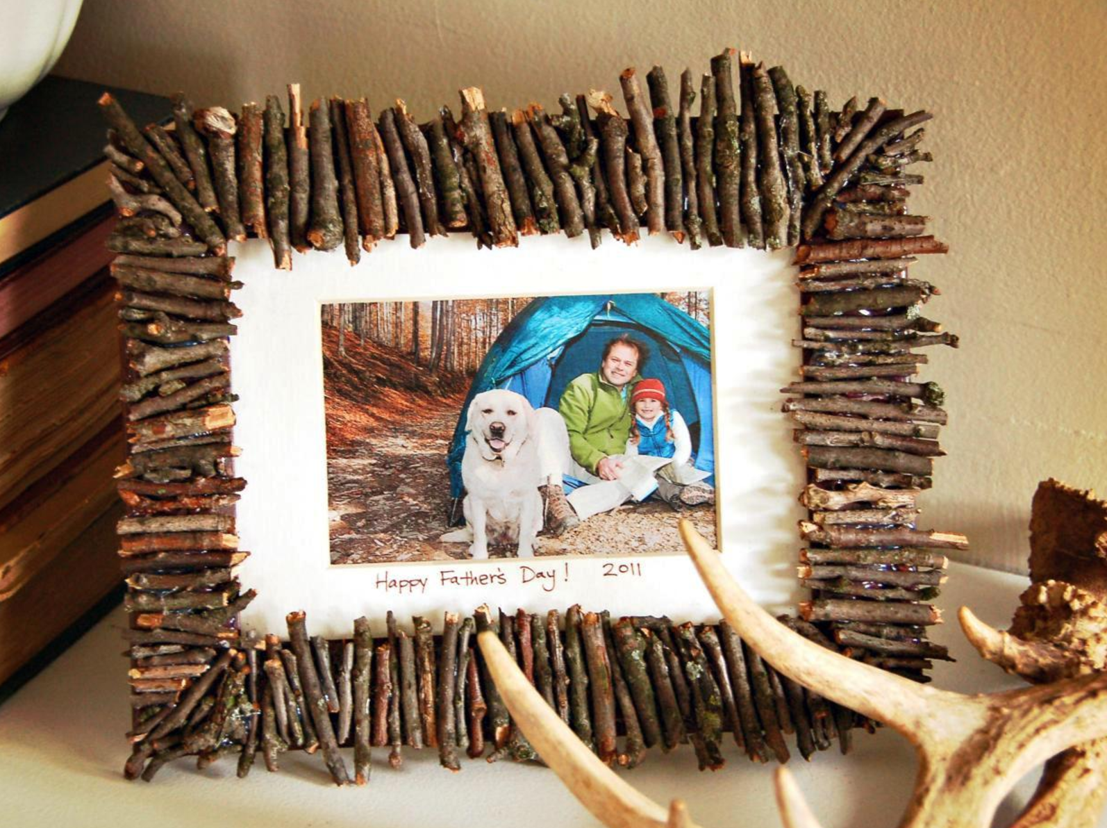 Handmade photo frame made from simple natural materials that can be ...