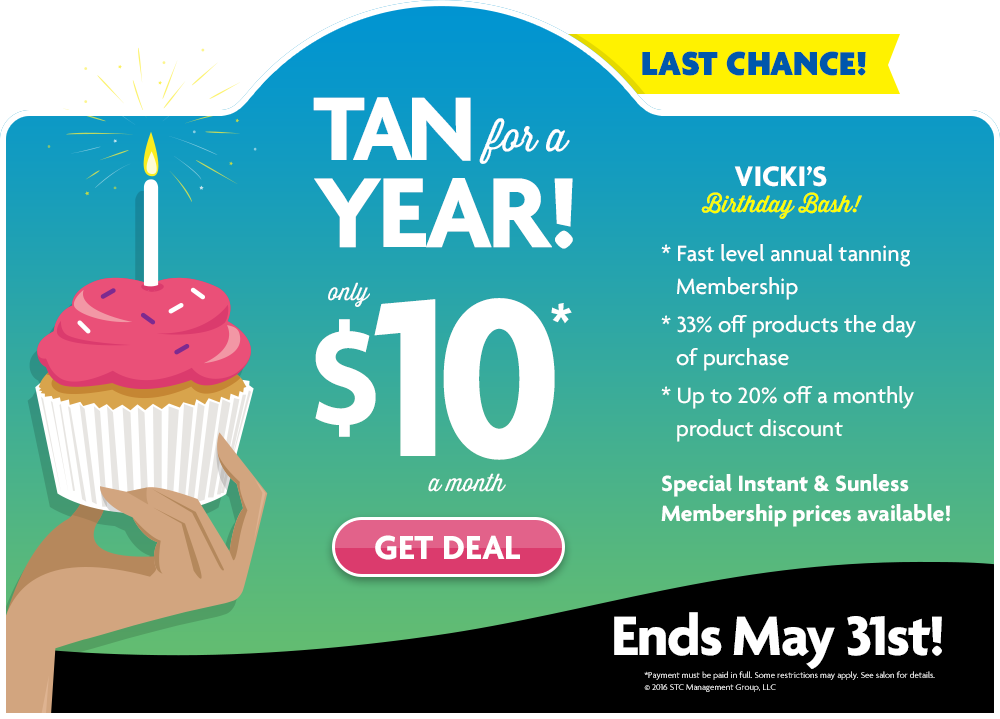 Sun Tan City Vicki S Birthday Bash Sale Ends May 31 Come On In